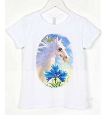 Marškinėliai su arkliuku Dominyku, balti