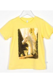 Marškinėliai su arkliuku Dominyku, geltoni