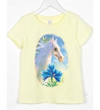 Marškinėliai su arkliuku Dominyku, gelsvi