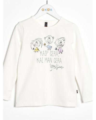 """Marškinėliai """"Kaip gera, kai man gera"""", pieno spalvos"""