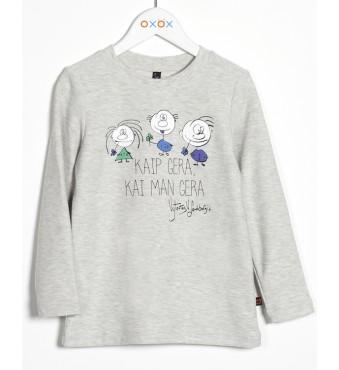 """Marškinėliai """"Kaip gera, kai man gera"""", pilki"""